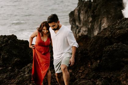 Black Sand Beach Session with  Poonam + Vijay in Maui, HI