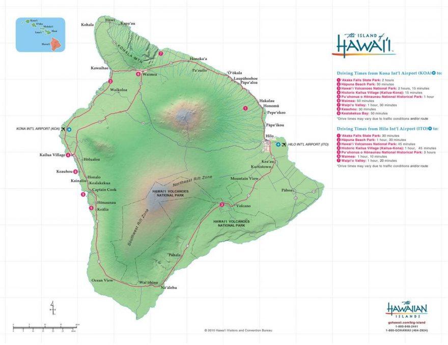 Map of accommodations on the Big Island Hawaii