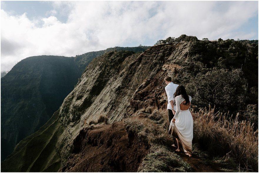 Kauai hike for adventure wedding photoshoot