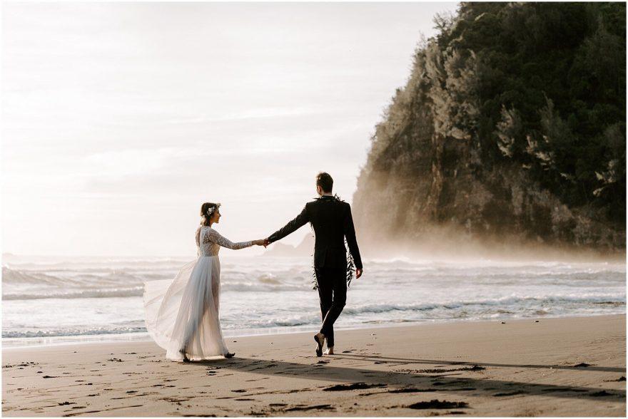 Sunrise elopement in Pololu Valley Hawaii