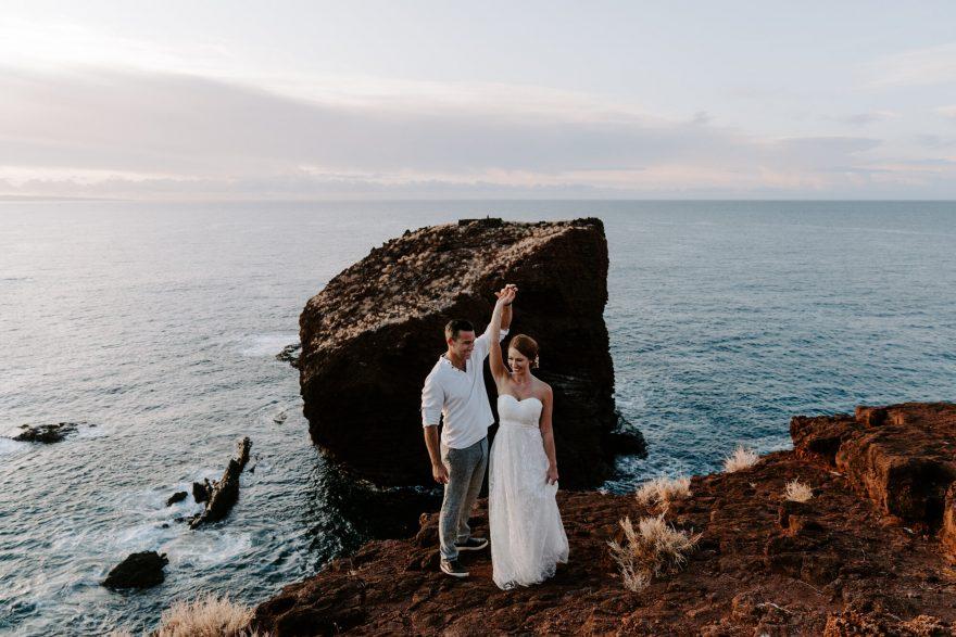 Lanai sunrise elopement wedding on ocean cliffs